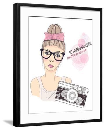 Fashion Girl Photographer-cherry blossom girl-Framed Art Print