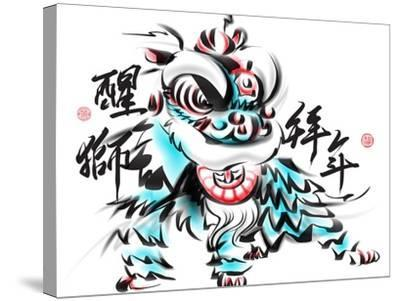 Ink Painting Of Chinese Lion Dance. Translation Of Chinese Text: The Consciousness Of Lion-yienkeat-Stretched Canvas Print