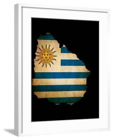 Outline Map Of Uruguay With Grunge Flag Insert Isolated On Black-Veneratio-Framed Art Print
