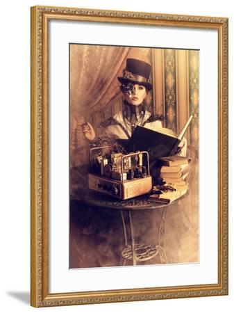 Portrait Of A Beautiful Steampunk Woman Over Vintage Background-prometeus-Framed Art Print