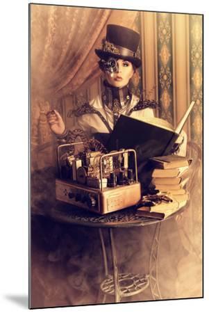 Portrait Of A Beautiful Steampunk Woman Over Vintage Background-prometeus-Mounted Art Print