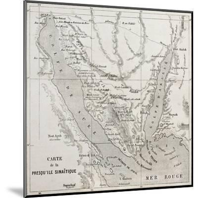 Old Map Of Sinai Peninsula. Created By Erhard, Published On Le Tour Du Monde, Paris, 1864-marzolino-Mounted Art Print