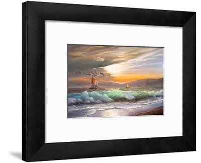 Oil Painting On Canvas , Sailboat Against A Background Of Sea Sunset-Lilun-Framed Premium Giclee Print