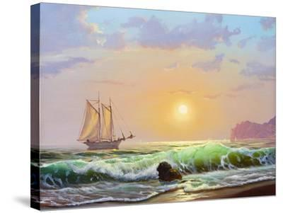 Oil Painting On Canvas , Sailboat Against A Background Of Sea Sunset-Lilun-Stretched Canvas Print