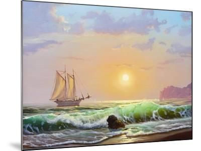 Oil Painting On Canvas , Sailboat Against A Background Of Sea Sunset-Lilun-Mounted Art Print