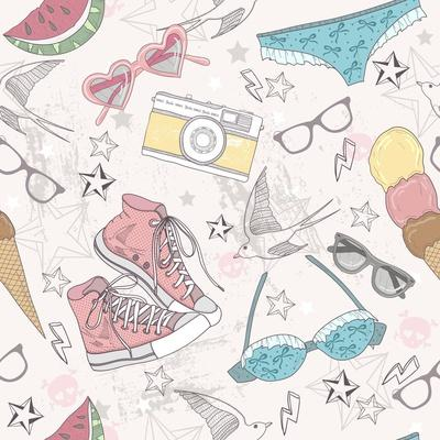 Cute Summer Abstract Pattern-cherry blossom girl-Art Print