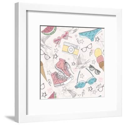Cute Summer Abstract Pattern-cherry blossom girl-Framed Art Print