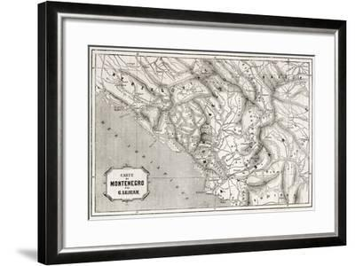 Old Map Of Montenegro. Created By Lejean, Published On Le Tour Du Monde, Paris, 1860-marzolino-Framed Art Print