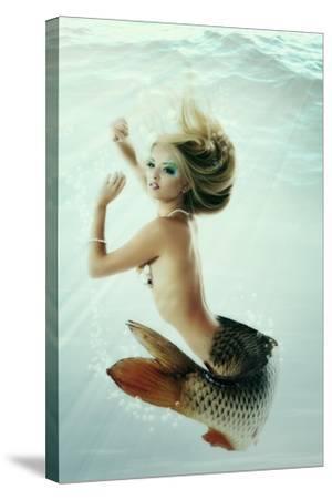 Mermaid Beautiful Magic Underwater Mythology Being Original Photo Compilation-khorzhevska-Stretched Canvas Print