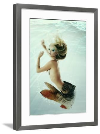 Mermaid Beautiful Magic Underwater Mythology Being Original Photo Compilation-khorzhevska-Framed Art Print