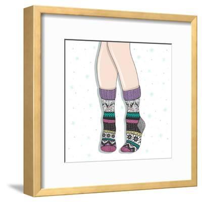 Woman Wearing A Pair Of Wool Socks. Cute Winter Background-cherry blossom girl-Framed Art Print