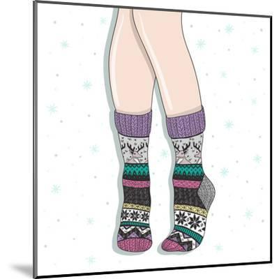 Woman Wearing A Pair Of Wool Socks. Cute Winter Background-cherry blossom girl-Mounted Art Print