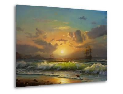 Sailboat Against A Background Of Sea Sunset, Oil Painting-Lilun-Metal Print