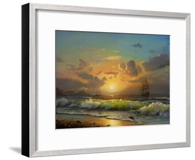 Sailboat Against A Background Of Sea Sunset, Oil Painting-Lilun-Framed Art Print