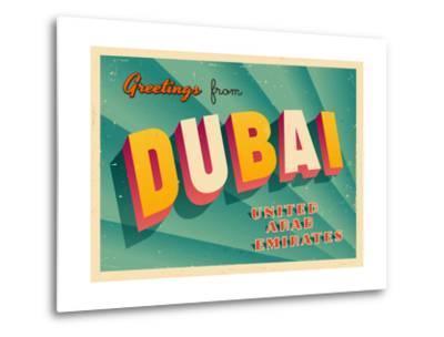 Vintage Touristic Greeting Card - Dubai, United Arab Emirates-Real Callahan-Metal Print