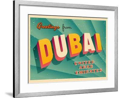 Vintage Touristic Greeting Card - Dubai, United Arab Emirates-Real Callahan-Framed Art Print