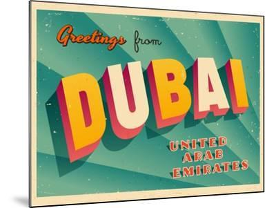Vintage Touristic Greeting Card - Dubai, United Arab Emirates-Real Callahan-Mounted Art Print