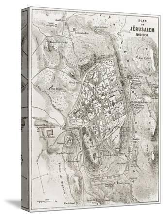 Jerusalem Old Map-marzolino-Stretched Canvas Print