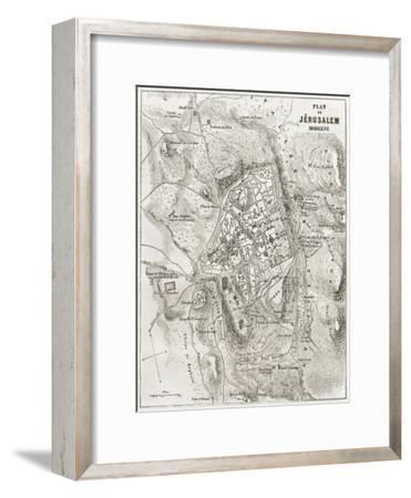 Jerusalem Old Map-marzolino-Framed Art Print