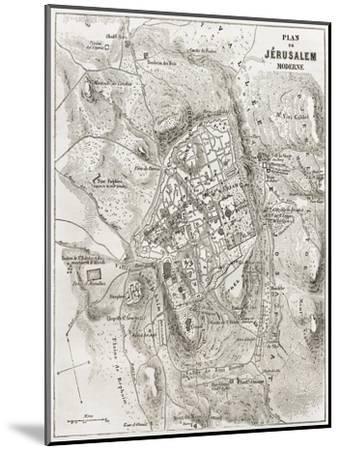 Jerusalem Old Map-marzolino-Mounted Art Print