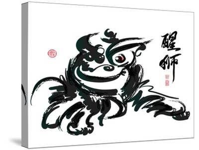 Ink Painting Of Chinese Lion Dance Translation Of Chinese Text: The Consciousness Of Lion-yienkeat-Stretched Canvas Print