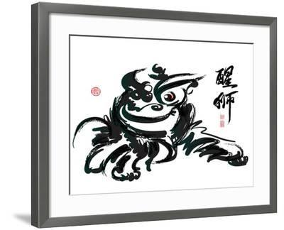 Ink Painting Of Chinese Lion Dance Translation Of Chinese Text: The Consciousness Of Lion-yienkeat-Framed Art Print