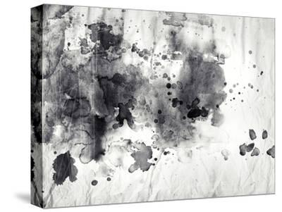 Abstract Black And White Ink Painting On Grunge Paper Texture-run4it-Stretched Canvas Print