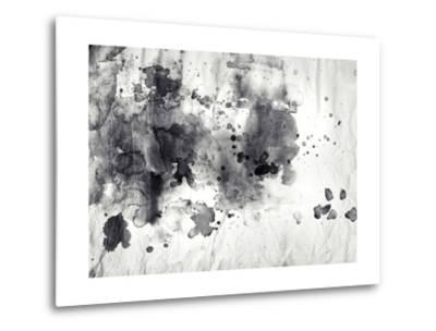 Abstract Black And White Ink Painting On Grunge Paper Texture-run4it-Metal Print