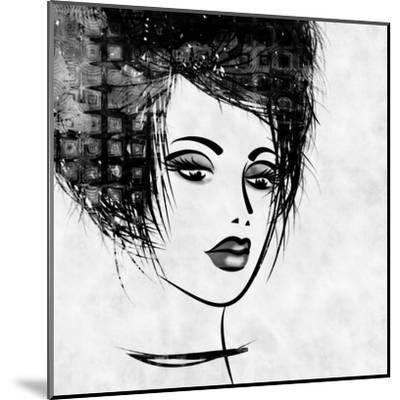 Art Colorful Sketched Beautiful Girl Face In Profile With Black Hair On White Background-Irina QQQ-Mounted Art Print