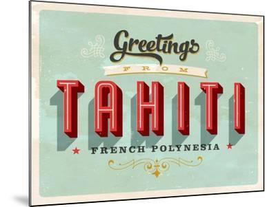 Vintage Touristic Greeting Card - Tahiti, French Polynesia-Real Callahan-Mounted Art Print