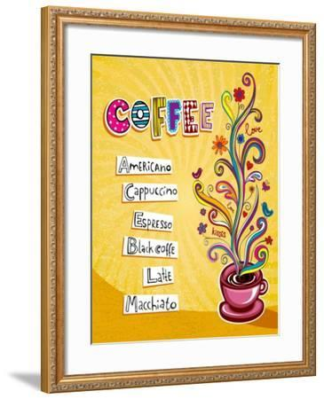 Coffee Background. Illustration Which May Be Used As Menu Cover Or Card-Anastasiya Zalevska-Framed Art Print