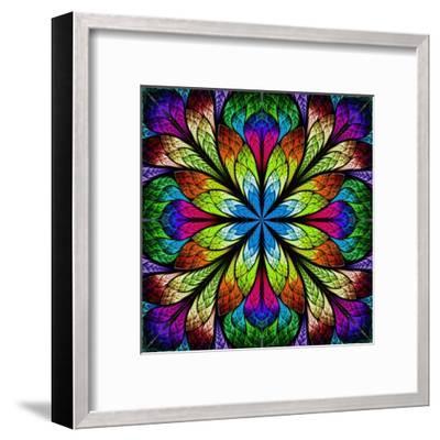 Multicolor Beautiful Fractal Flower. Computer Generated Graphics-velirina-Framed Art Print