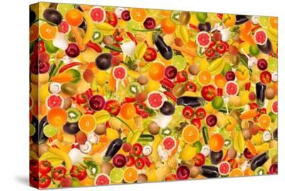 Different Types Of Fruit And Vegetables As Background, Colorful- pasiphae-Stretched Canvas Print