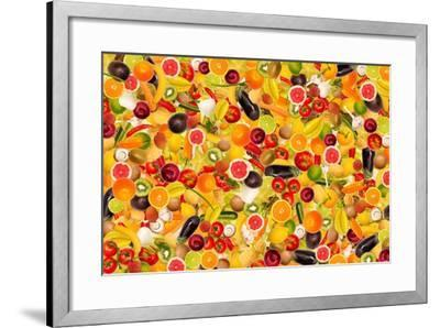 Different Types Of Fruit And Vegetables As Background, Colorful- pasiphae-Framed Art Print