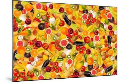 Different Types Of Fruit And Vegetables As Background, Colorful- pasiphae-Mounted Art Print