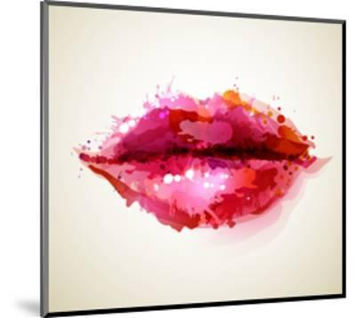 Beautiful Woman's Lips Formed By Abstract Blots-artant-Mounted Art Print