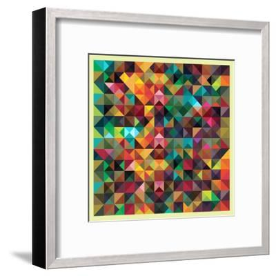 Colorful Triangles Modern Abstract Mosaic Design Pattern-Melindula-Framed Art Print