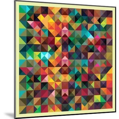 Colorful Triangles Modern Abstract Mosaic Design Pattern-Melindula-Mounted Art Print