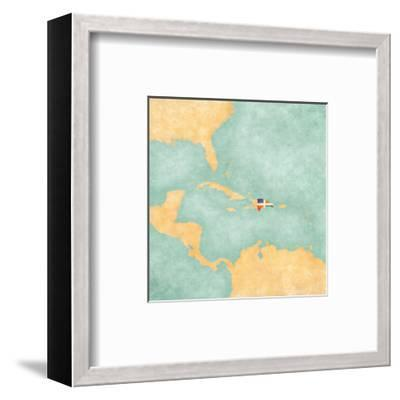 Map Of Caribbean - Dominican Republic (Vintage Series)-Tindo-Framed Art Print