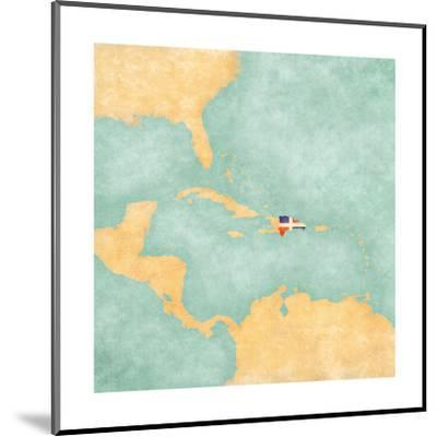 Map Of Caribbean - Dominican Republic (Vintage Series)-Tindo-Mounted Art Print