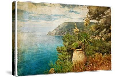 Picturesue Italian Coast - Artwork In Retro Painting Style-Maugli-l-Stretched Canvas Print