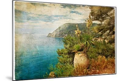 Picturesue Italian Coast - Artwork In Retro Painting Style-Maugli-l-Mounted Art Print
