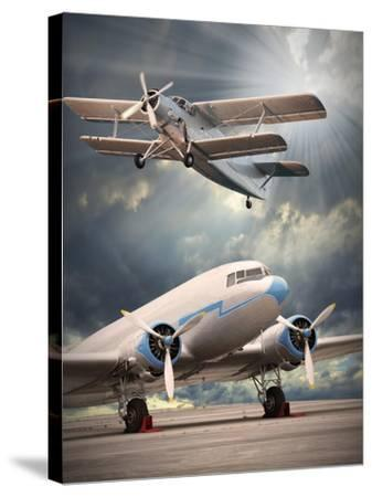 Two Vintage Aircraft On The Runway. Retro Style Picture-Kletr-Stretched Canvas Print