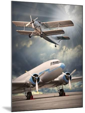 Two Vintage Aircraft On The Runway. Retro Style Picture-Kletr-Mounted Art Print