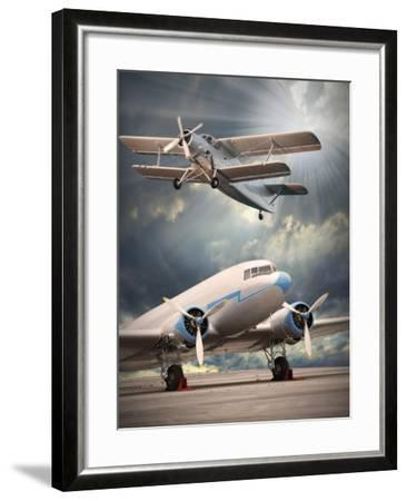 Two Vintage Aircraft On The Runway. Retro Style Picture-Kletr-Framed Art Print
