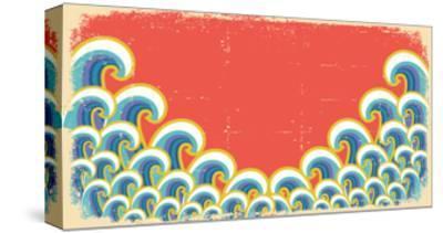 Abstract Waves Illustration On Vintage-GeraKTV-Stretched Canvas Print