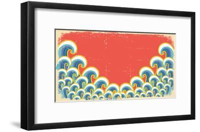 Abstract Waves Illustration On Vintage-GeraKTV-Framed Art Print