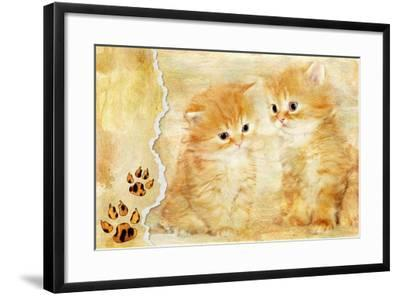 Vintage Background With Paper Border And Kittens Picture-Maugli-l-Framed Art Print
