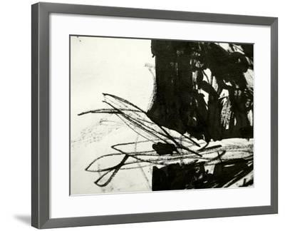 A Messy Grunge Background Hand Made With Black Indian Ink-lavitrei-Framed Art Print
