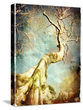 Ancient Tree Of Cambodian Temple - Artistic Retro Picture-Maugli-l-Stretched Canvas Print